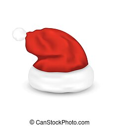 Hat Santa Claus, Isolated On White Background