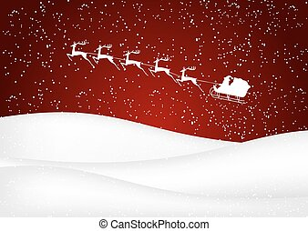 Santa Claus rides in a sleigh reindeer on red background