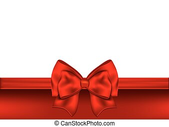 Holiday red background with gift bow and ribbon