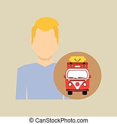 man blond vintage van camper suitcases vector illustration...