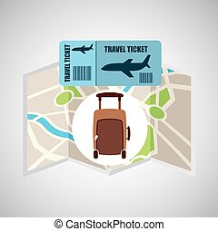 airline ticket map travel fashion suitcase