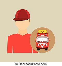 man red cap vintage van camper suitcases vector illustration...
