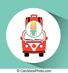 girl tourist traveler van vintage bag vector illustration...