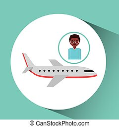 afroamerican man traveler airplane vector illustration eps...