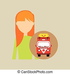 girl blonde vintage van camper suitcases vector illustration...