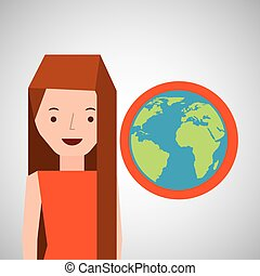 girl globe world tourist traveler