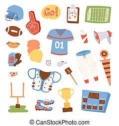 American football icons vector set. - Football game sport...