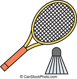 Two badminton racket and shuttlecock vector. - Two badminton...