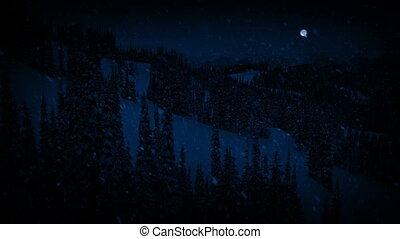 Passing Mountains In Snowfall At Night With Full Moon -...