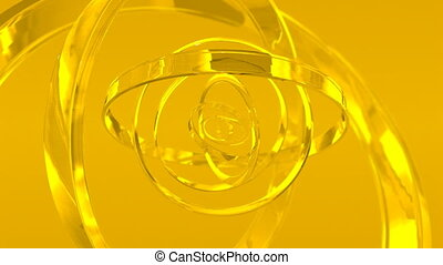 caption of rotating gold glass rings HD video 1920x1080