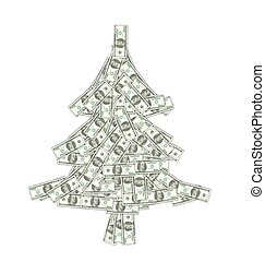 Christmas Concept - Pine Made of Banknotes of Dollars -...