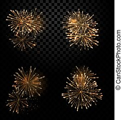 Festive Set Fireworks Salute on Transparent Background -...
