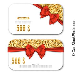 Gift Card Template with Golden Dust Texture and Black Bow Ribbon