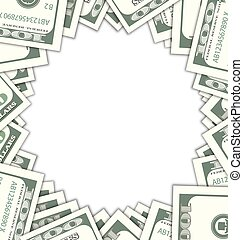 Round Frame with Dollars with Shadows on White Background -...