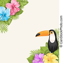 Nature Tropical Background with Toucan, Hibiscus Flowers and Palm Leaves