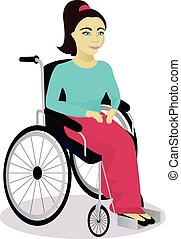 girl with disabilities in a wheelchair vector illustration