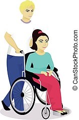 girl with disabilities in a wheelchair with boy vector...