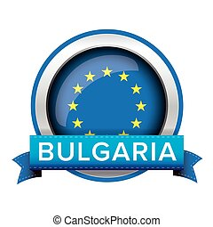 EU flag button with Bulgaria ribbon