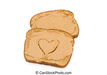 Liking peanut butter toast - Two pieces of whole wheat toast...