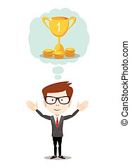 Businessman dreaming about success. Vector flat illustration