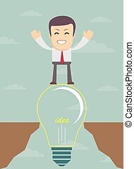 Businessman on a bulb cross an abyss