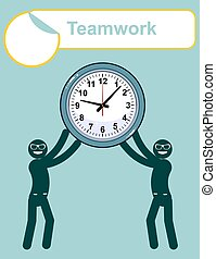 Abstract Businessman holding Time.Teamwork - Abstract...