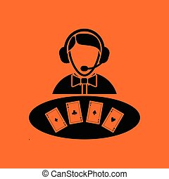 Casino dealer icon. Orange background with black. Vector...