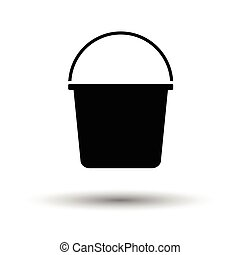 Bucket icon. White background with shadow design. Vector...