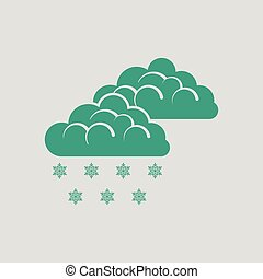 Snow icon. Gray background with green. Vector illustration.
