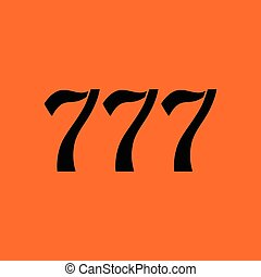 777 icon. Orange background with black. Vector illustration.