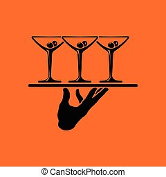 Waiter hand holding tray with martini glasses icon. Orange...