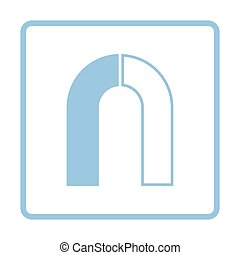 Magnet icon. Blue frame design. Vector illustration.