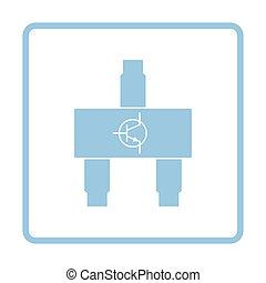 Smd transistor icon. Blue frame design. Vector illustration.