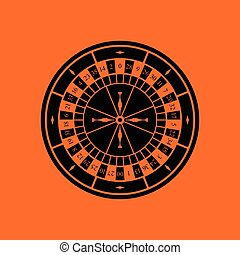 Roulette wheel icon. Orange background with black. Vector...