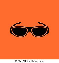 Poker sunglasses icon. Orange background with black. Vector...