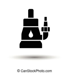 Submersible water pump icon. White background with shadow...