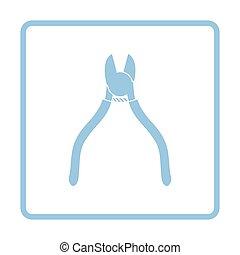 Side cutters icon. Blue frame design. Vector illustration.