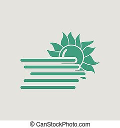 Fog icon. Gray background with green. Vector illustration.