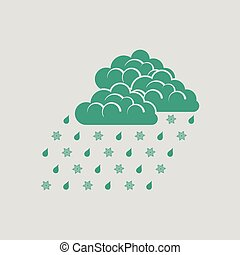 Rain with snow icon. Gray background with green. Vector...