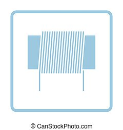 Inductor coil icon. Blue frame design. Vector illustration.