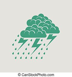 Thunderstorm icon. Gray background with green. Vector...