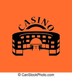 Casino building icon. Orange background with black. Vector...