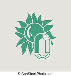 Magnetic storm icon. Gray background with green. Vector...