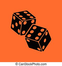 Craps dice icon. Orange background with black. Vector...