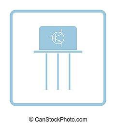 Transistor icon. Blue frame design. Vector illustration.