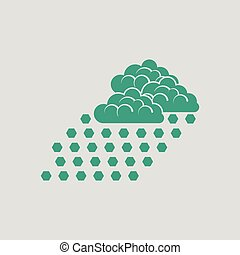 Hail icon. Gray background with green. Vector illustration.