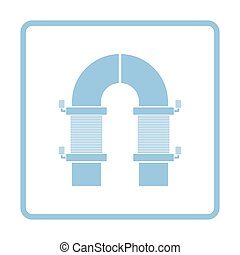 Electric magnet icon. Blue frame design. Vector...