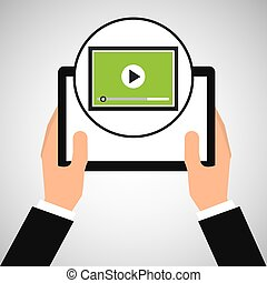hand holds tablet video player design