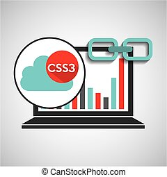 laptop graphs cloud css3 link web vector illustration eps 10