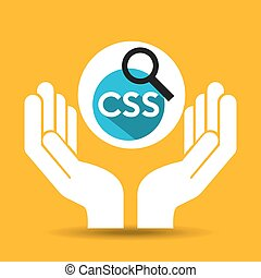 hand optimization technology css language web vector...
